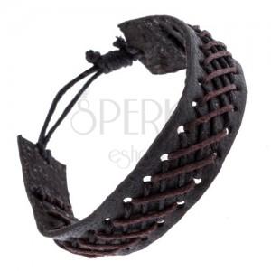 Čierny kožený náramok s čierno-hnedým pleteným vzorom