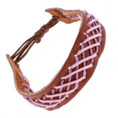 Šperky eshop - Kožený náramok na ruku - svetlohnedý, s vpleteným vzorom Y52.20