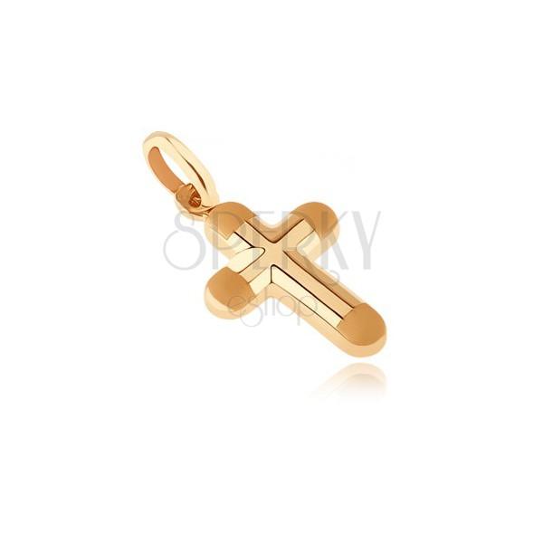 Zlatý prívesok 585 - hrubý krížik s matnými okrúhlymi koncami cípov
