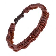 Šperky eshop - Kožený pletenec na ruku - karamelové a ružovo-hnedé prúžky AC6.12