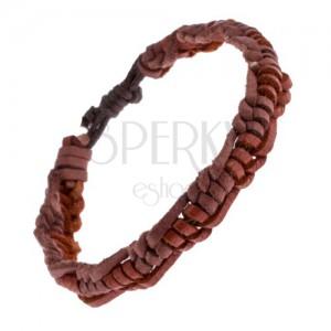Kožený pletenec na ruku - karamelové a ružovo-hnedé prúžky