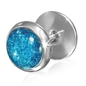 Oceľový falošný plug do ucha - modré trblietavé očko