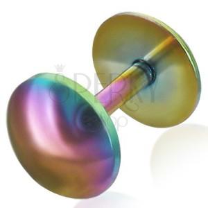 Fake piercing do ucha z anodizovanej ocele v dúhových farbách