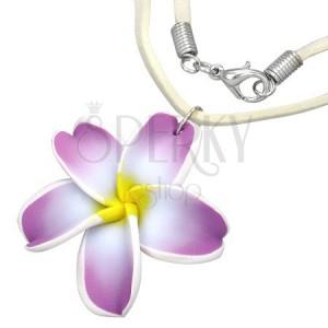 FIMO náhrdelník - fialovo-biely kvet plumérie, béžová kožená šnúrka
