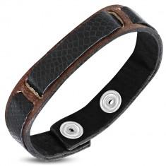 Šperky eshop - Náramok na ruku z kože - tri lesklé čierne pásy, hadia koža S13.26