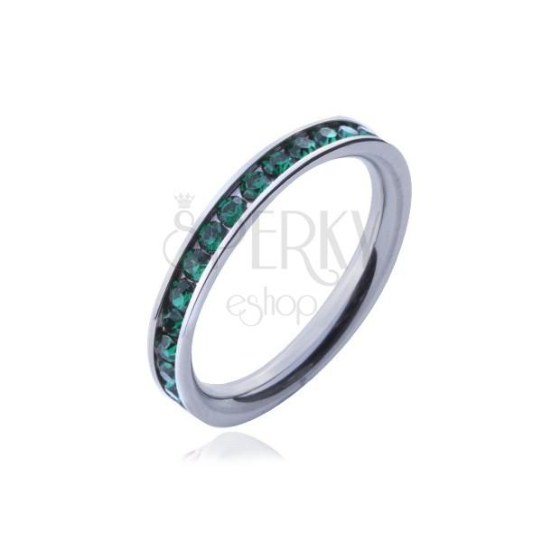 Prsteň z chirurgickej ocele - zelené okrúhle zirkóniky