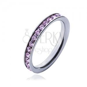 Prsteň s ružovými zirkónmi - oceľová obrúčka