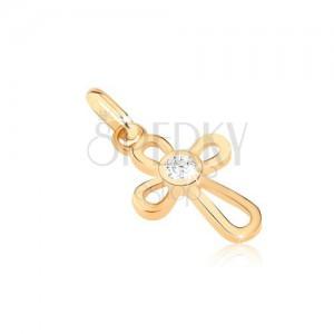 Zlatý prívesok 585 - krížik z tenkých slučiek, zirkón uprostred