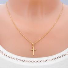 Prívesok zo 14K zlata - hladký latinský kríž s X uprostred