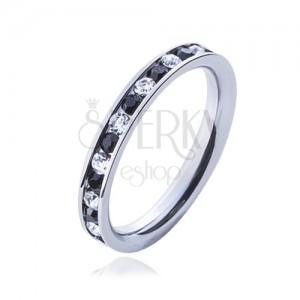 Oceľový prsteň - číre a čierne kamienky