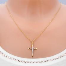 Zlatý prívesok 585 - kríž s oválne skosenými cípmi a Kristom