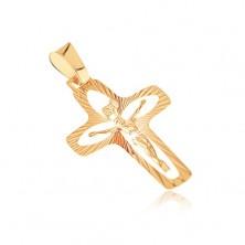 Zlatý prívesok 585 - kríž s lúčmi, zrnkovými výsekmi a vystúpeným Ježišom