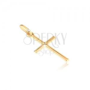 Zlatý prívesok 585 - malý lesklý kríž s gravírovaným X