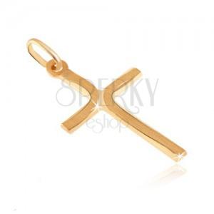 Prívesok zo zlata 14K - kríž so sploštenými cípmi a matnými oblúkmi