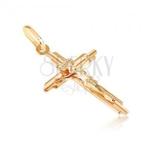 Zlatý prívesok 585 - kríž s vyhĺbenými cípmi a trojrozmerným Ježišom