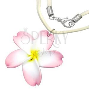 FIMO náhrdelník - bielo-ružový kvet, béžová šnúrka