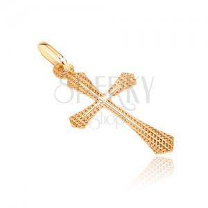 Zlatý prívesok 585 - štruktúrovaný kríž s rozšíreným ramenom a tenkým krížikom