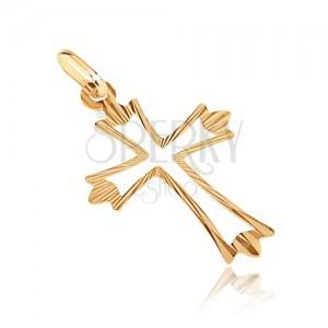 Zlatý prívesok 585 - kríž s rozvetvenými lúčovitými cípmi a výsekom