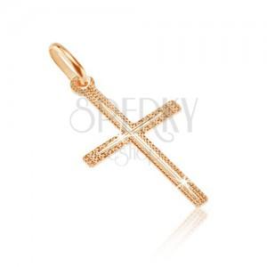 Prívesok zo zlata 14K - tenký štruktúrovaný kríž so zárezom v strede