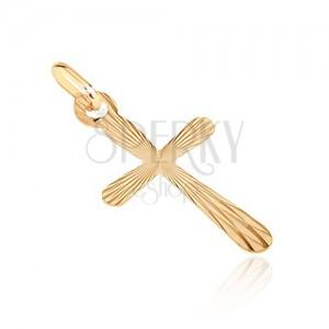 Prívesok zo 14K zlata - kríž so zaoblenými cípmi so zrkadlovými plôškami