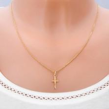 Zlatý prívesok 585 - kríž s predĺženým ramenom a členitým povrchom