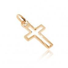 Zlatý prívesok 585 - línia kríža s lesklými úzkymi pásmi