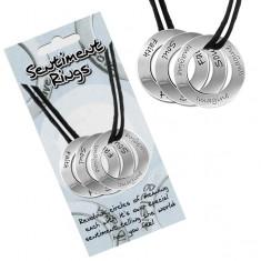 """Šperky eshop - Šnúrkový náhrdelník - tri kruhové prívesky """"Soul, Faith, Imagine"""" AC12.17"""