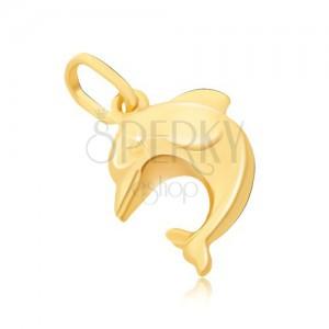 Prívesok zo zlata 14K - veľký 3D skákajúci delfín s plutvami