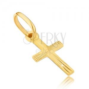 Zlatý prívesok 585 - krížik s lesklými lúčmi na povrchu
