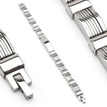 Náramok z chirurgickej ocele s vrstvenými plnými oblúkmi