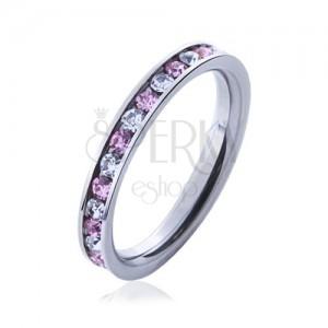 Oceľový prsteň s kamienkami ružovej a čírej farby