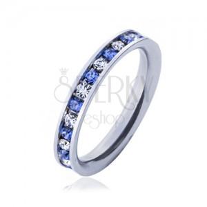 Oceľový prsteň - svetlo-modré a číre kamienky