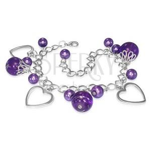 Náramok na ruku - kovová retiazka, obrysy srdca, fialové korálky