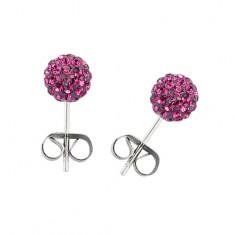 Šperky eshop - Náušnice z chirurgickej ocele - gulička s ružovými zirkónmi AC13.31
