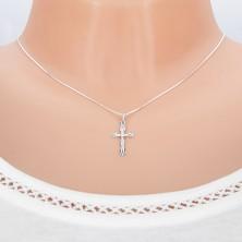 Prívesok z bieleho zlata 14K - ostrý kríž s lúčmi a Ježišom