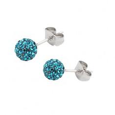 Šperky eshop - Oceľové náušnice - gulička s tyrkysovými zirkónmi AC14.1