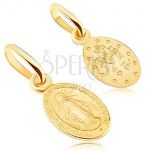 Prívesok zo zlata 14K - obojstranný medailónik s Pannou Máriou