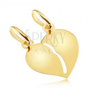 Zlatý dvojprívesok 585 - hladké lesklé prelomené srdce pre dvojicu