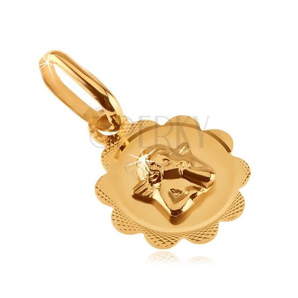 Zlatý prívesok 585 - kvietok s gravírovaním a malým anjelikom