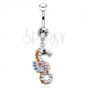 Lesklý oceľový piercing do pupku - morský koník, farebné zirkóny