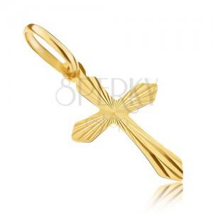 Prívesok v žltom 14K zlate - krížik s ostrými ramenami a lúčmi