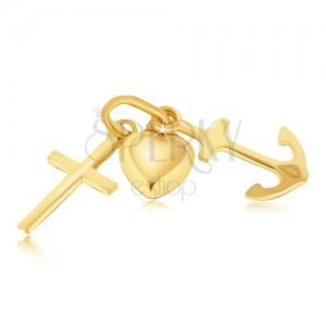 Multiprívesok zo zlata 14K - vypuklé srdce, kotva a krížik
