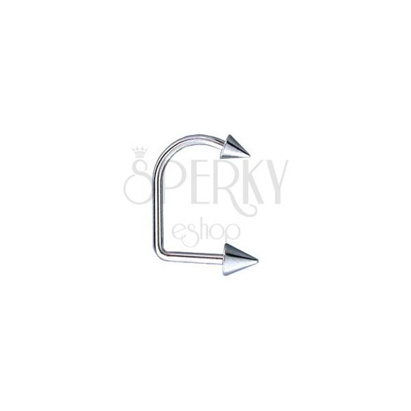 Piercing do brady a pery zahnutý 2 hroty 4 / 5 mm