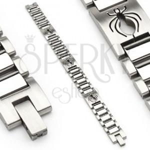 Náramok z chirurgickej ocele v štýle hodiniek s pavúkom