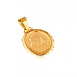 Prívesok zo zlata 14K - matná známka s gravírovaným symbolom VÁHY