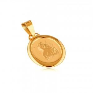 Zlatý prívesok 585 - gravírovaná PANNA na oválnej známke s rámčekom