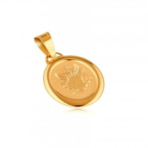 Zlatý oválny prívesok 585 - známka v ráme so znamením BÝK
