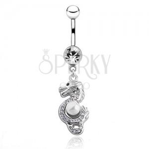 Oceľový piercing do pupku - čínsky drak s perličkou