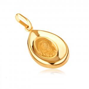 Zlatý prívesok 585 - slza s vyhĺbeným stredom a obrázkom Panny Márie