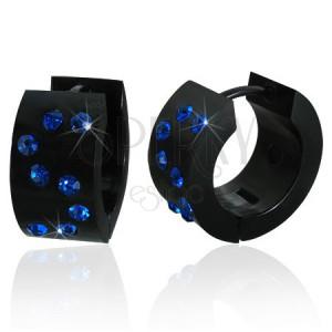 Čierne okrúhle náušnice z akrylu - modrý monogram S